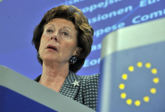 EU competition commissioner Neelie Kroes gives a press conference about proposed restructuring measures for banks on November 18, 2009 at EU headquarters in Brussels. The European Commission on November 18 approved restructuring plans for British bank Lloyds, Dutch counterpart ING and Belgium's KBC bank, all rescued by public bailouts during the global financial crisis. AFP PHOTO / GEORGES GOBET