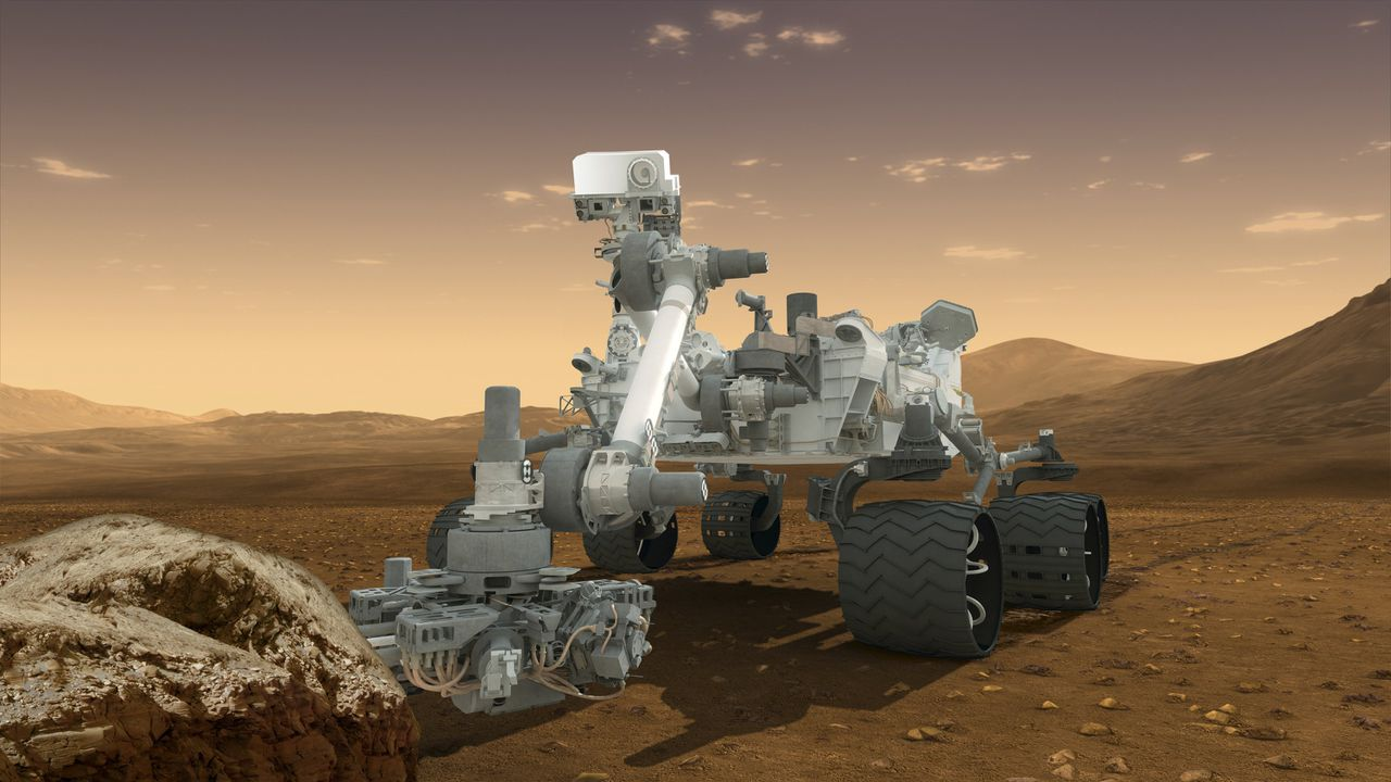 This artist's concept features NASA's Mars Science Laboratory Curiosity rover, a mobile robot for investigating Mars' past or present ability to sustain microbial life. Curiosity will land near the Martian equator about 10:31 p.m., on August 5, 2012 in the late evening. In this picture, the rover examines a rock on Mars with a set of tools at the end of the rover's arm, which extends about 7 feet (2 meters). Two instruments on the arm can study rocks up close. A drill can collect sample material from inside of rocks and a scoop can pick up samples of soil. The arm can sieve the samples and deliver fine powder to instruments inside the rover for thorough analysis. REUTERS/NASA-JPL/Handout (UNITED STATES - Tags: SCIENCE TECHNOLOGY) FOR EDITORIAL USE ONLY. NOT FOR SALE FOR MARKETING OR ADVERTISING CAMPAIGNS. THIS IMAGE HAS BEEN SUPPLIED BY A THIRD PARTY. IT IS DISTRIBUTED, EXACTLY AS RECEIVED BY REUTERS, AS A SERVICE TO CLIENTS