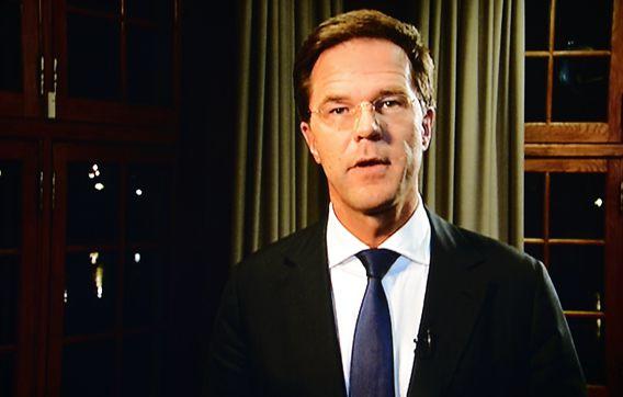 RIJSWIJK - Premier Mark Rutte tijdens zijn speech nadat koningin Beatrix haar aftreden heeft aangekondigd. ANP ROYAL IMAGES LEX VAN LIESHOUT
