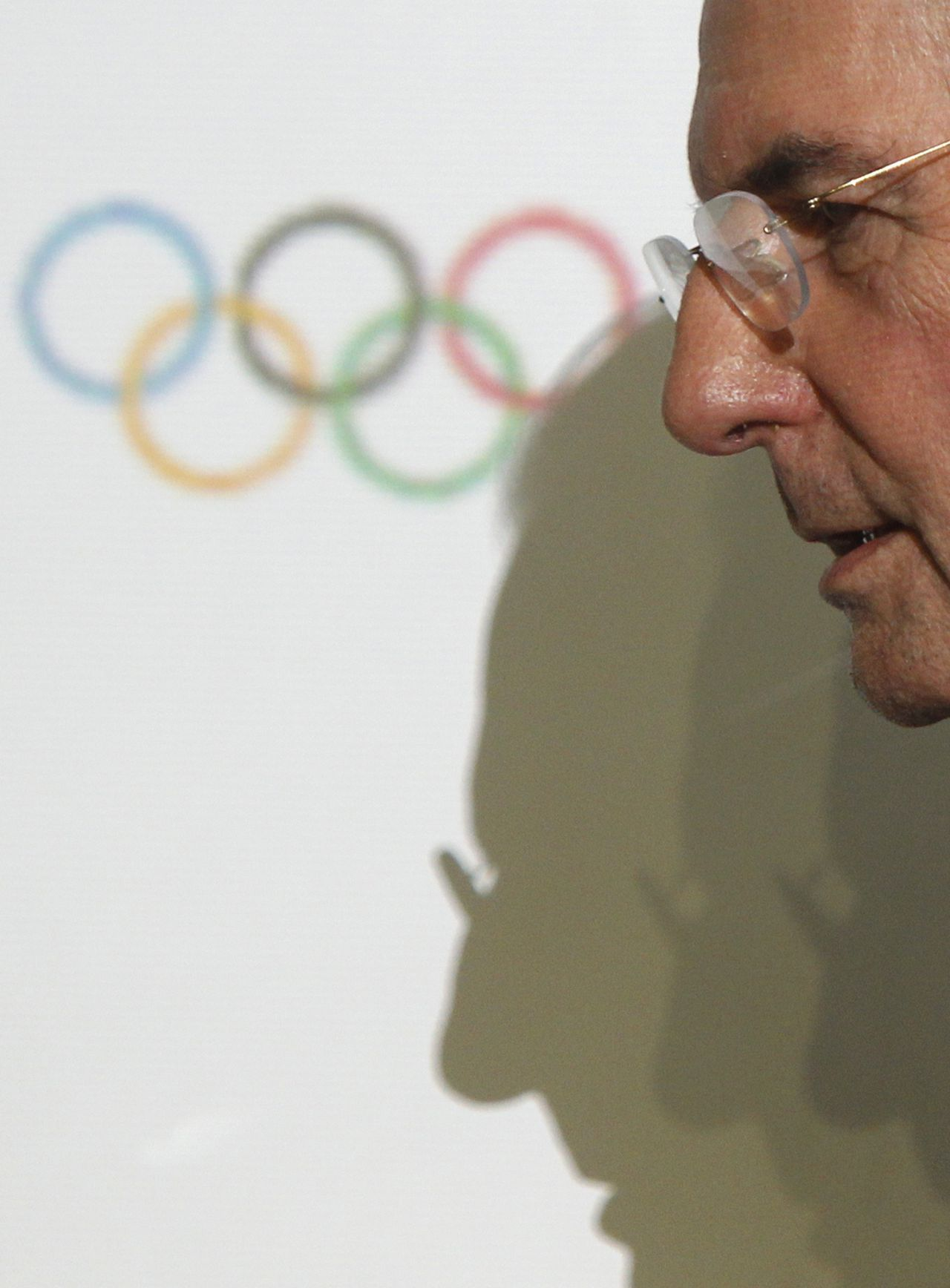 International Olympic Committee (IOC) President Jacques Rogge leaves after a news conference during the IOC Executive Board meeting, part of the annual SportAccord convention, in St. Petersburg, May 31, 2013. REUTERS/Alexander Demianchuk (RUSSIA - Tags: SPORT OLYMPICS)