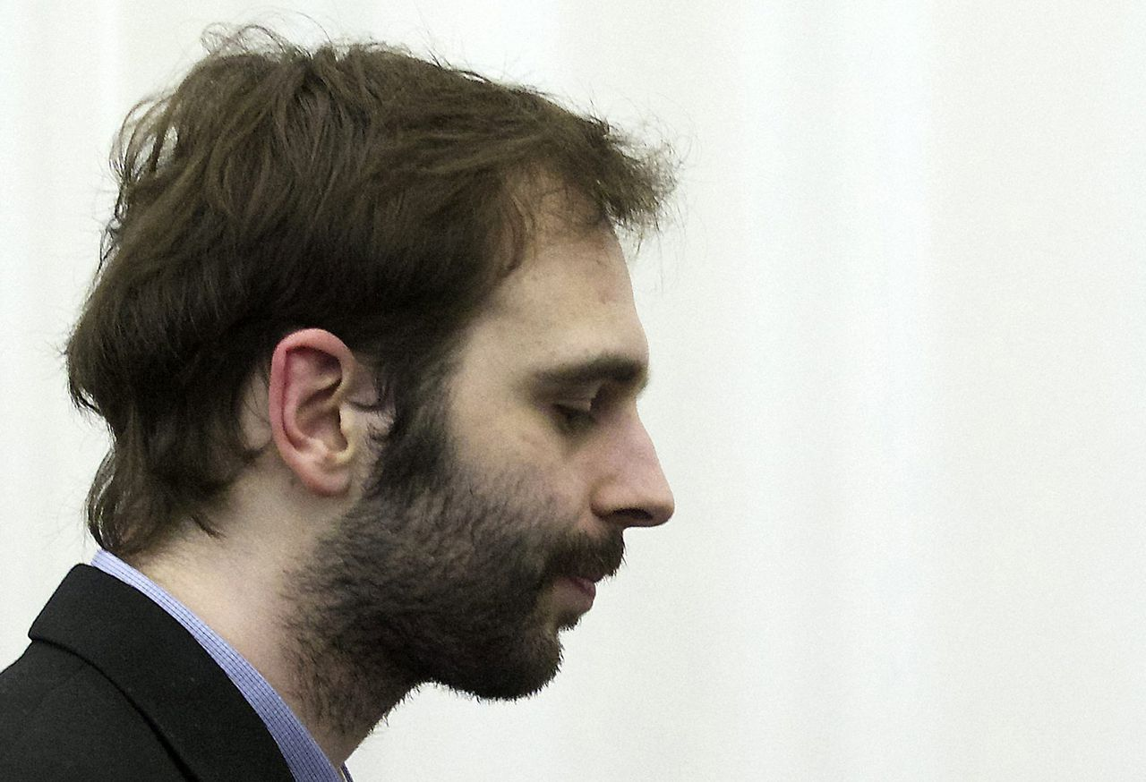 Belgian Kim De Gelder attends his trial at the Palace of Justice in Ghent March 11, 2013. In January 2009, De Gelder, then 20 years old, launched his attacks at the Fabeltjesland (Fairytale Land) creche in Dendermonde, 30 km (20 miles) west of Brussels, slashing at victims with a knife, killing a six-month-old and nine-month-old child and a woman child minder. REUTERS/Nicolas Maeterlinck/Pool (BELGIUM - Tags: CRIME LAW)