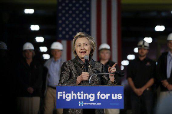 Democratische presidentskandidaat Hillary Clinton tijdens een bijeenkomst in de staat Indiana.