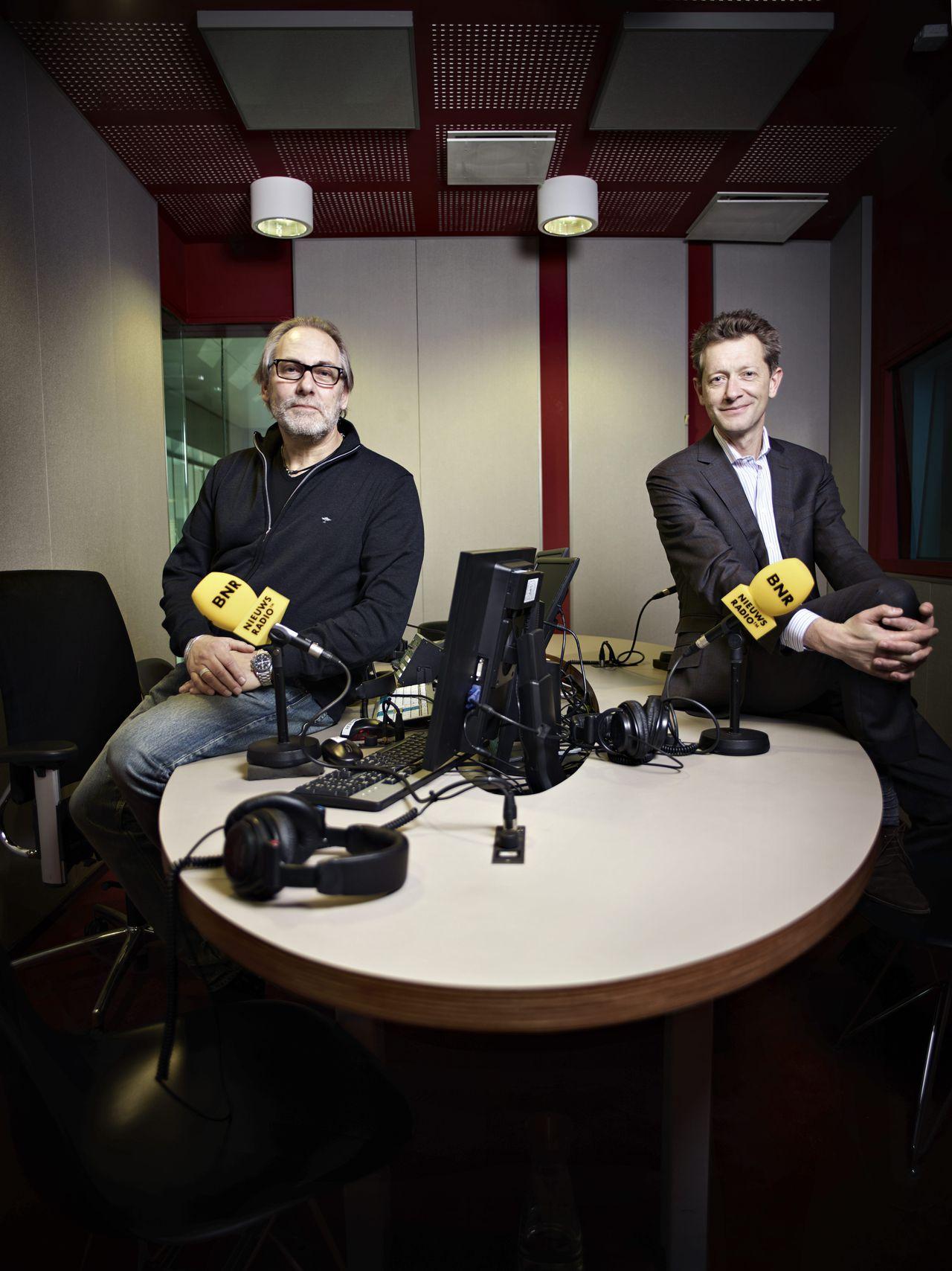 Nederland, Amsterdam, 14 november 2012 Laurens Borst (radio 1) en Paul van Gessel (BNR) (r) Foto: Merlijn Doomernik