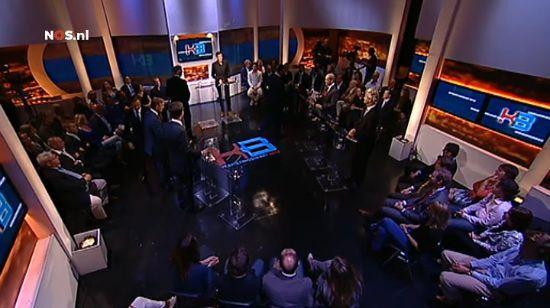 Het verkiezingsdebat van Knevel en Van den Brink. Screenshot NOS