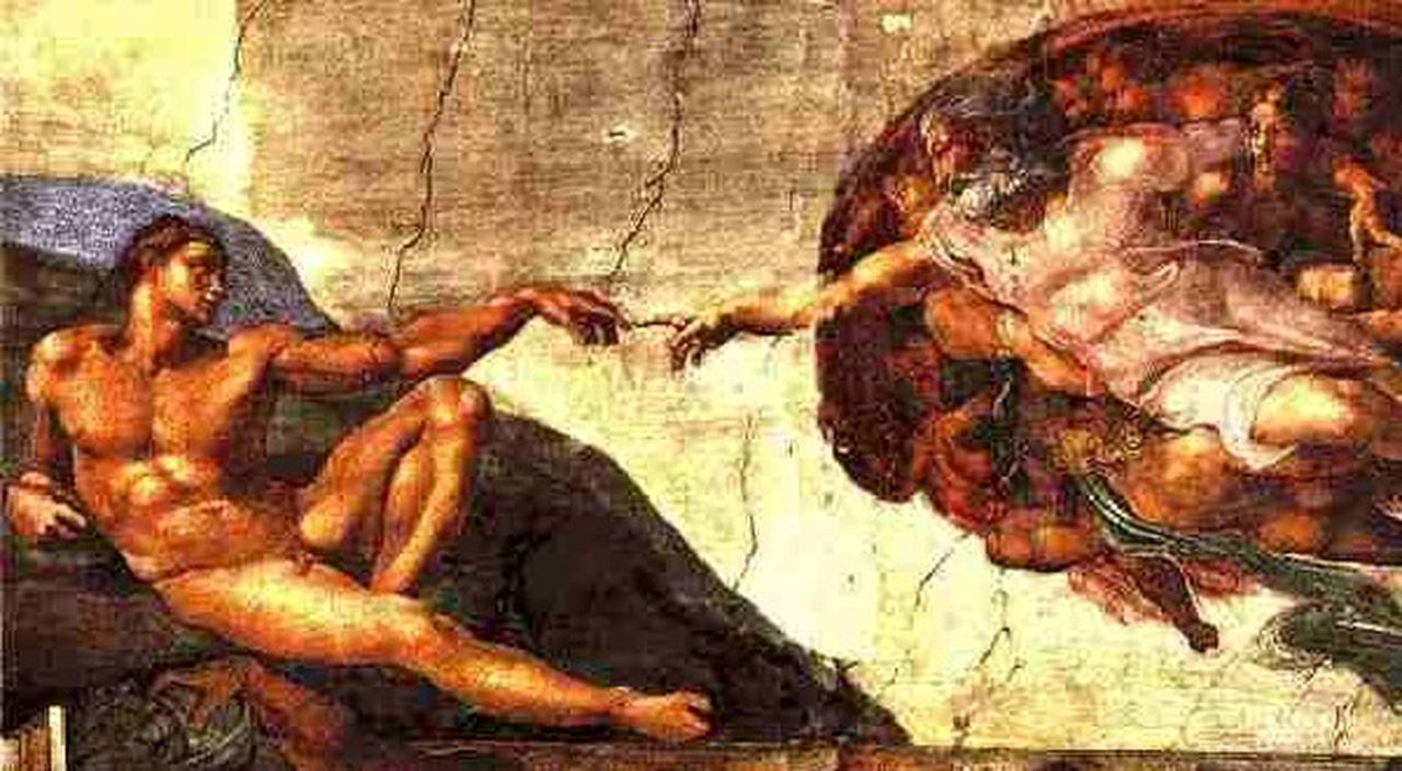 Michelangelo Two Hands Painting