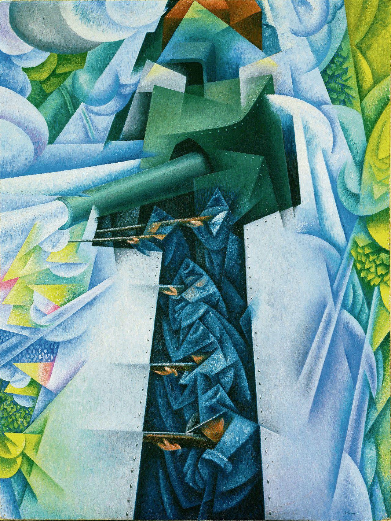 Bewapende trein, een schilderij (116 bij 88 cm) van de Italiaanse futurist Gino Severini (1883-1966)