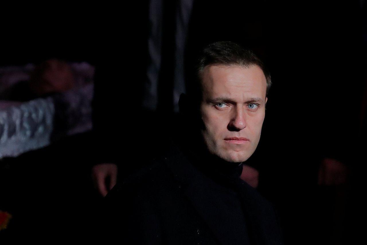 Navalny tijdens een eerbetoon voor de overleden mensenrechtenactivist Ljoedmila Aleksejeva eind 2018 in Moskou.