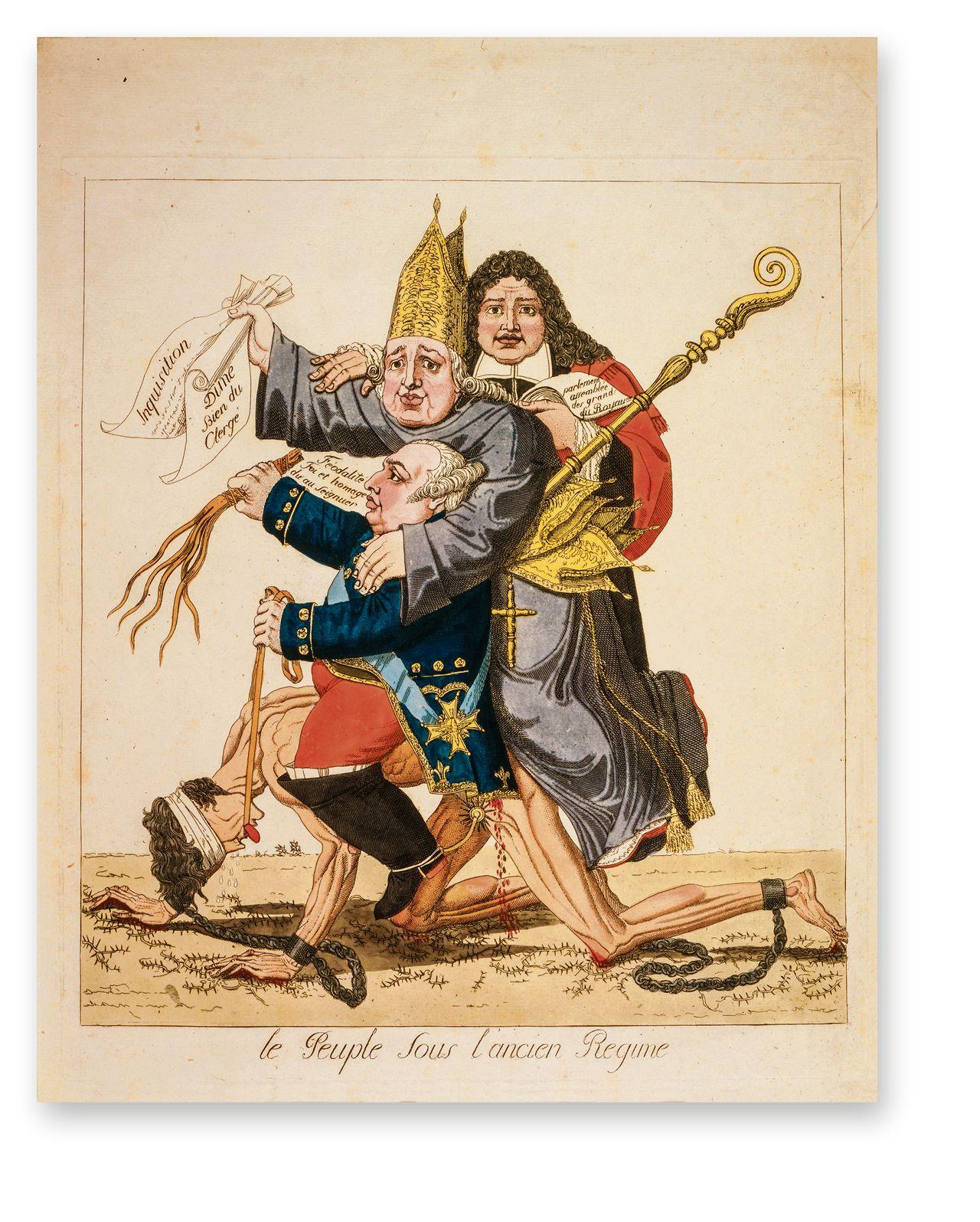 Le Peuple sous l'ancien Régime, 'Het volk onder het Ancien Régime': Franse spotprent uit 1815 met Lodewijk XVI, een bisschop en een edelman op de rug van een geketende en geblinddoekte man die 'het volk' verbeeldt.