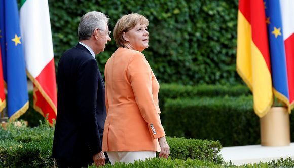 Caption: German Chancellor Angela Merkel (R) and Italian Prime Minister Mario Monti walk during a meeting at Villa Madama in Rome July 4, 2012. REUTERS/Max Rossi (ITALY - Tags: POLITICS)