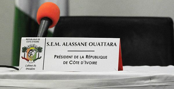 """This picture taken on January 3, 2011 at the golf hotel in Abidjan shows the seat of Alassane Ouattara, who the world says won Ivory Coast's disputed presidential vote. Ouattara, said after talks with African mediators that """"discussions are over"""" and rival Laurent Gbagbo must leave office. AFP PHOTO/ ISSOUF SANOGO"""