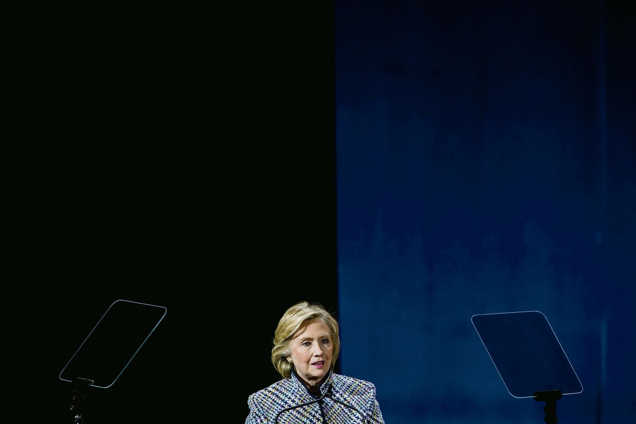Hillary Clinton op de Women in the World Conference in New York.Foto Andrew Burton/Getty Images/AFP