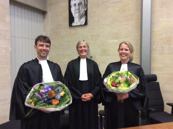Twee nieuwe rechters geïnstalleerd bij de Rechtbank Zeeland-West Brabant in 2015 (foto twitter)