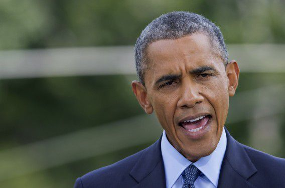 De Amerikaanse president Barack Obama tijdens zijn persverklaring over nieuwe Amerikaanse sancties tegen Rusland.