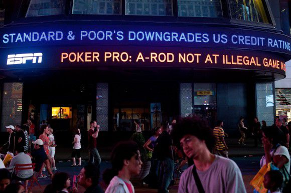 "NEW YORK, NY - AUGUST 05: An ABC News ticker reads ""Standard & Poor's downgrades US credit rating from AAA to AA+"" in Times Square on August 5, 2011 in New York City. The ratings agency decided to downgrade the US credit rating after the prolonged debt-limit debate in the US government. Andrew Burton/Getty Images/AFP == FOR NEWSPAPERS, INTERNET, TELCOS & TELEVISION USE ONLY =="