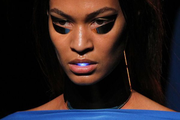 A model shows a creation by designer Gareth Pugh as part of his Fall-Winter ready-to-wear 2012 fashion collection, presented in Paris, Wednesday, March 2, 2011. (AP Photo/Francois Mori)