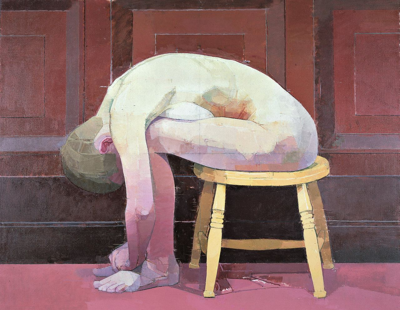 Euan Uglow, Curled Nude on a Stool (1982-1983)