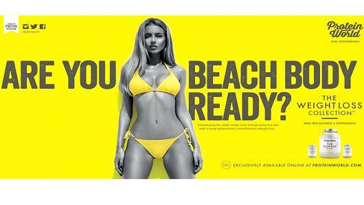 De reclame van Protein World, waar vorig jaar veel commotie over ontstond in het Verenigd Koninkrijk.