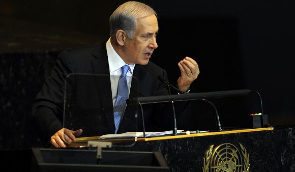 Name: UN-GENERAL_ASSEMBLY--262151-01-07-20110923-175115.jpg Caption: Benjamin Netanyahu, Prime Minister of Israel, addresses the 66th General Assembly on September 23, 2011 at the United Nations in New York. AFP PHOTO / TIMOTHY A. CLARY IPTC Date: 17:33 23/09/11