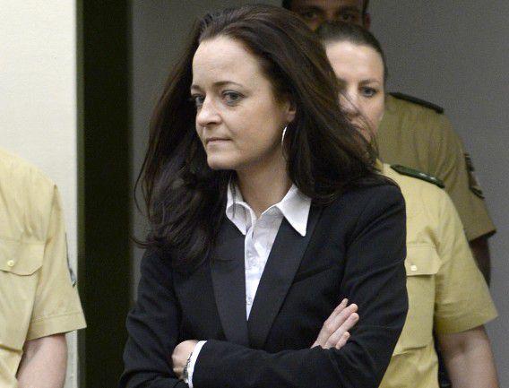 Hoofdverdachte Beate Zschäpe toen ze maandag de rechtbank binnenkwam.