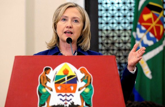 me: 2011-06-13T130409Z_01_TZAW103_RTRMDNP_3_CLINTON-AFRICA.JPG Caption: United States Secretary of State Hillary Rodham Clinton speaks during a press availability with Tanzania's President Jakaya Kikwete at the State House in Dar es Salaam June 13, 2011. Clinton will urge the African Union to get tougher on Libya on Monday, hoping to push Africa's leaders into a firmer stance on the ousting of Libya's Muammar Gaddafi. REUTERS/Susan Walsh/Pool (TANZANIA - Tags: POLITICS)