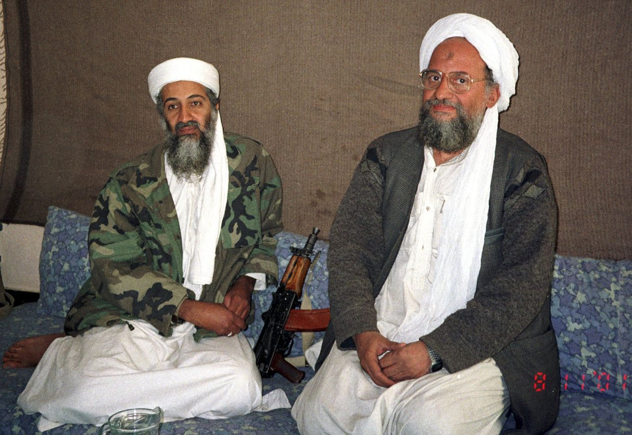 Osama bin Laden (L) sits with his adviser and purported successor Ayman al-Zawahiri, an Egyptian linked to the al Qaeda network, during an interview with Pakistani journalist Hamid Mir (not pictured) in an image supplied by the respected Dawn newspaper November 10, 2001. Al Qaeda's elusive leader Osama bin Laden was killed in a mansion outside the Pakistani capital Islamabad, U.S. President Barack Obama said on May 1, 2011. REUTERS/Hamid Mir/Editor/Ausaf Newspaper for Daily Dawn (AFGHANISTAN - Tags: POLITICS CONFLICT IMAGES OF THE DAY)