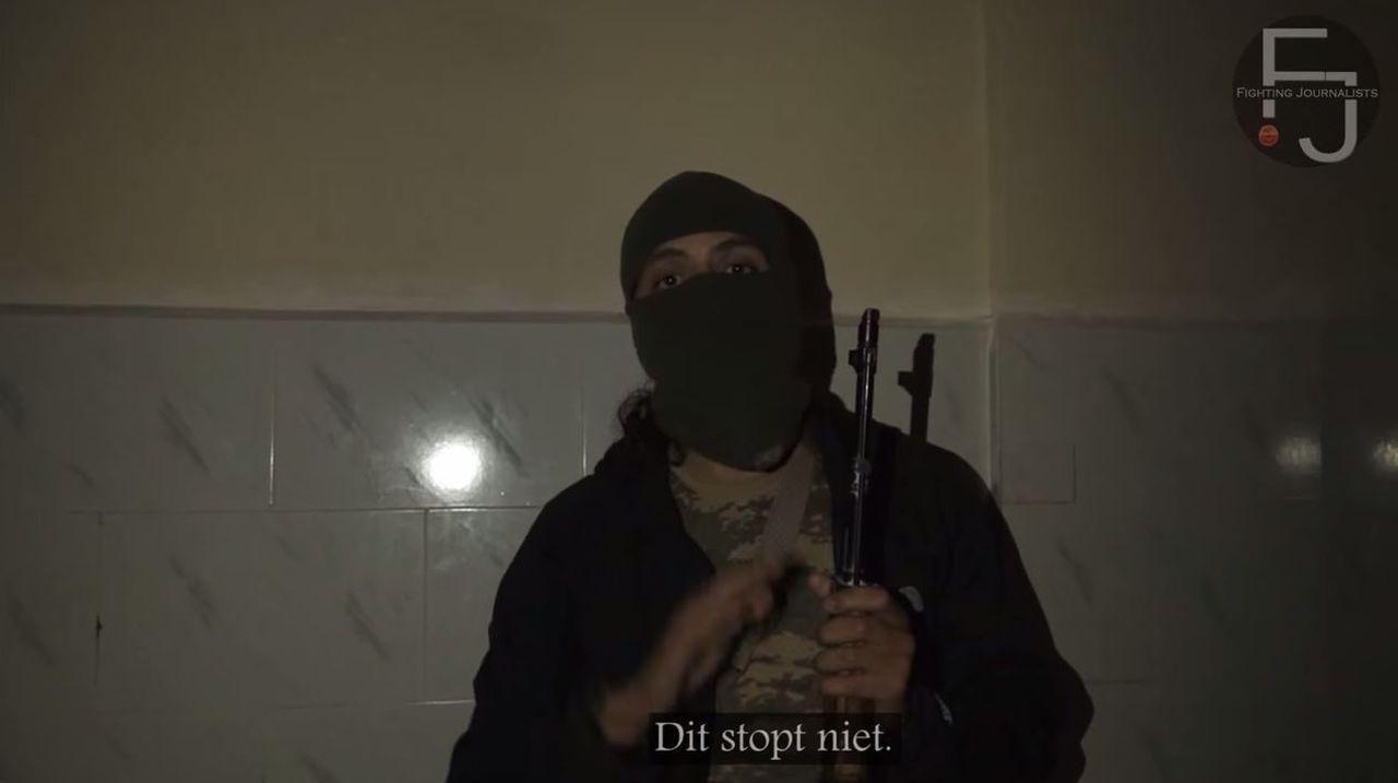 Soufiane Z in het promotiefilmpje Oh Oh Aleppo waarmee jonge jihadisten voor het kalifaat werden geworven.