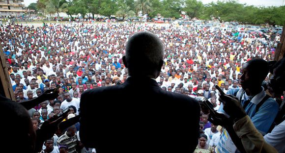 Caption: Presidential opposition candidate Winston Tubman speaks to supporters at a rally in Monrovia, Liberia Sunday, Oct. 16, 2011. Tubman, the top challenger in Liberia's presidential race, said Sunday that opposition parties may reconsider their decision to pull out of the process over claims of rigging, as no majority winner has emerged and the contest appears poised to enter a second round. (AP Photo/Jane Hahn)