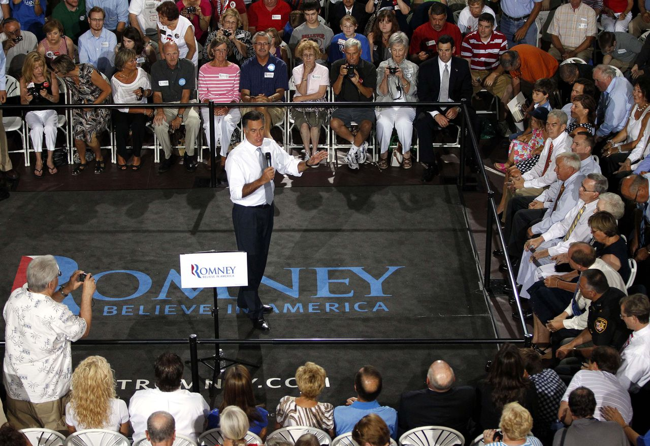 U.S. Republican presidential candidate Mitt Romney speaks at a Victory town hall in Bowling Green, Ohio, July 18, 2012. REUTERS/Matt Sullivan (UNITED STATES - Tags: POLITICS ELECTIONS)