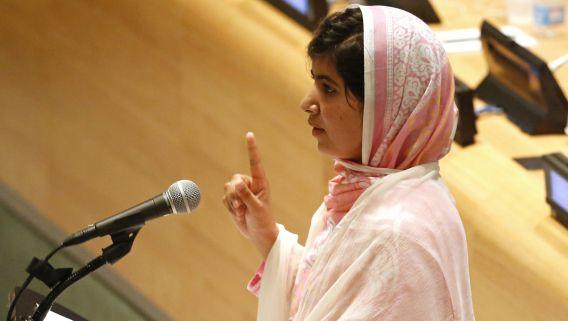 Het Pakistaanse schoolmeisje Malala Yousafzai sprak vandaag de Verenigde Naties toe.