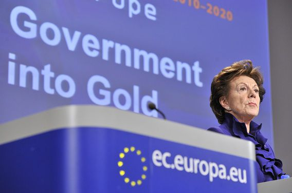 EU commissioner for Digital Agenda Neelie Kroes looks on during her press conference on Open Data Strategy for Europe on December 12, 2011 at the European Headquarters in Brussels. AFP PHOTO GEORGES GOBET