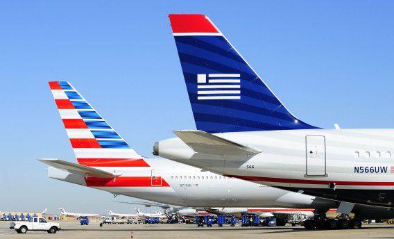 US Airways- en American Airlines-vliegtuigen.