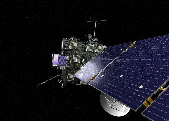 Een artist impression van de ruimtesonde Rosetta.