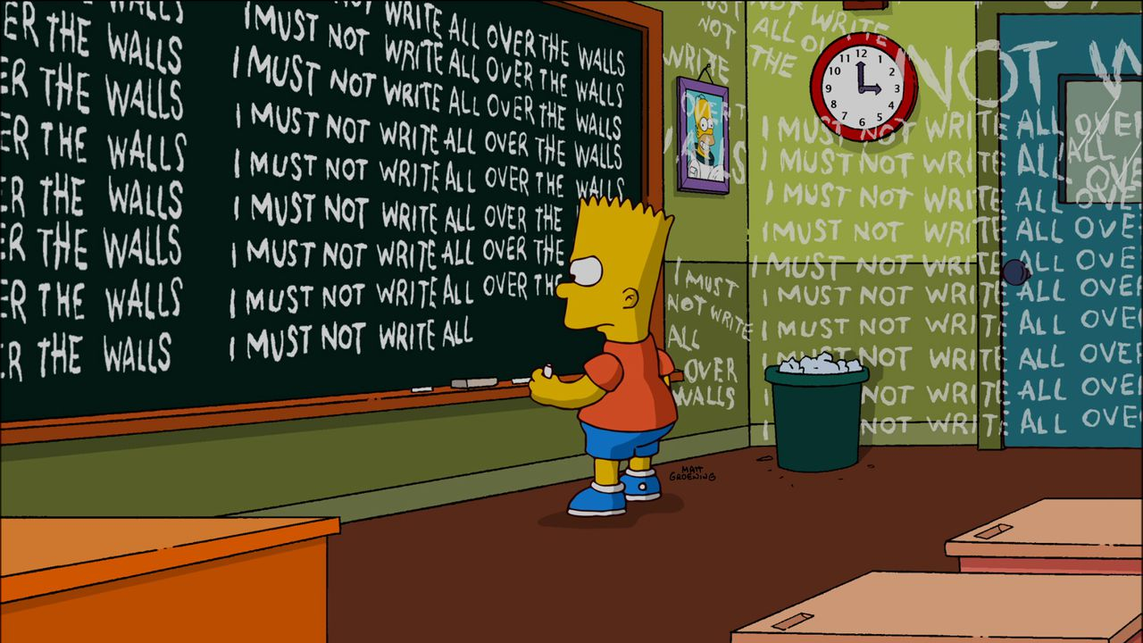 """Openingsscène uit de aflevering The Fool Monty, met FOX-sneer op helikopter (boven). Homer Simpson als King Kong in de volgende aflevering. In this publicity image released by Fox, Bart Simpson, an animated character from """"The Simpsons,"""" is shown during the opening sequence of the """"MoneyBart"""" episode, which aired on Sunday, Oct, 10, 2010. (AP Photo/Fox)"""