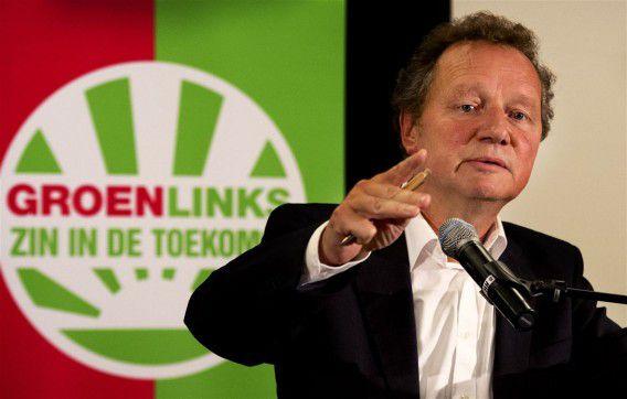 Bram van Ojik aan het woord op de partijraad van GroenLinks. Foto ANP / Robin Utrecht