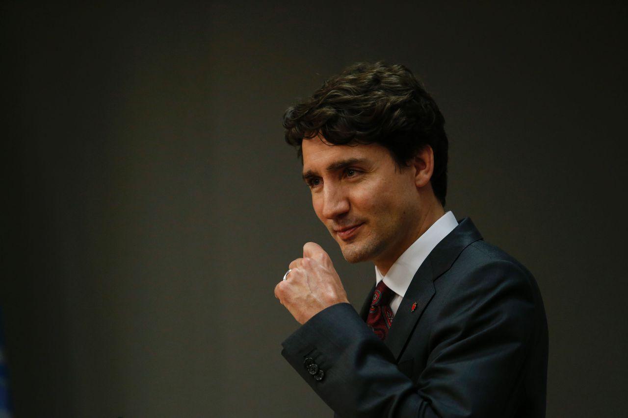 De Canadese premier Justin Trudeau tijdens een VN-bijeenkomst op 22 april.