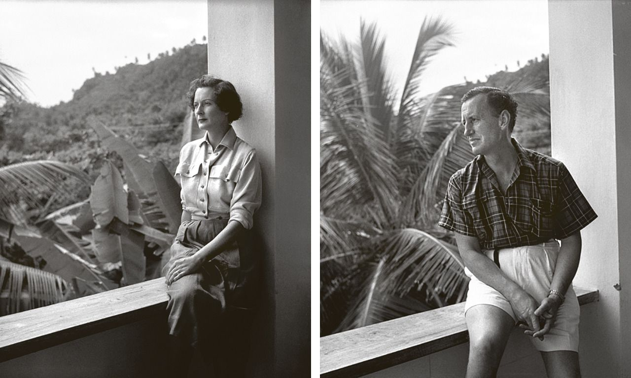 Bond-auteur Ann Charteris en Ian Fleming in Flemings villa 'Goldeneye' op Jamaica.