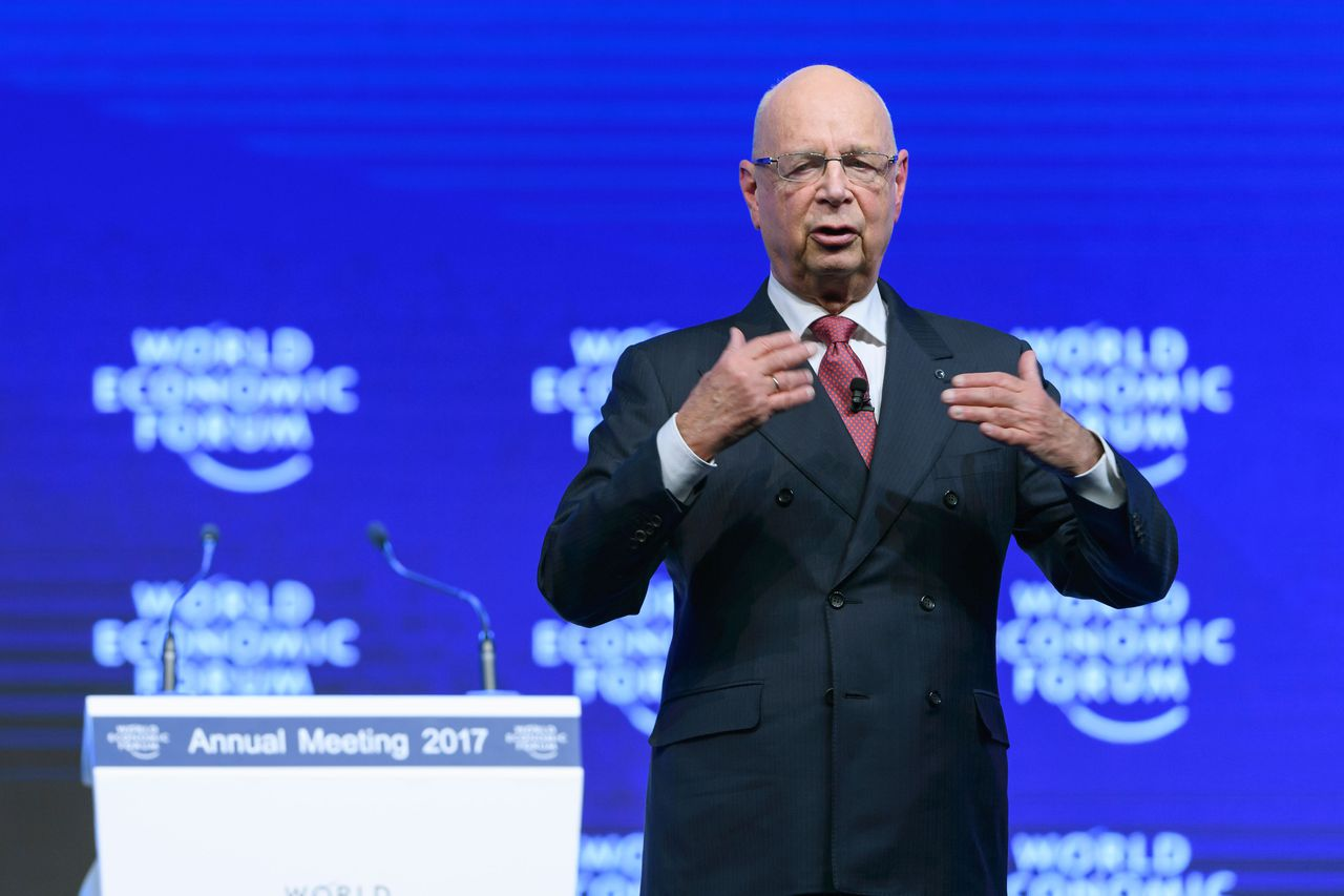 Klaus Schwab, de oprichter van het World Economic Forum, in Davos.
