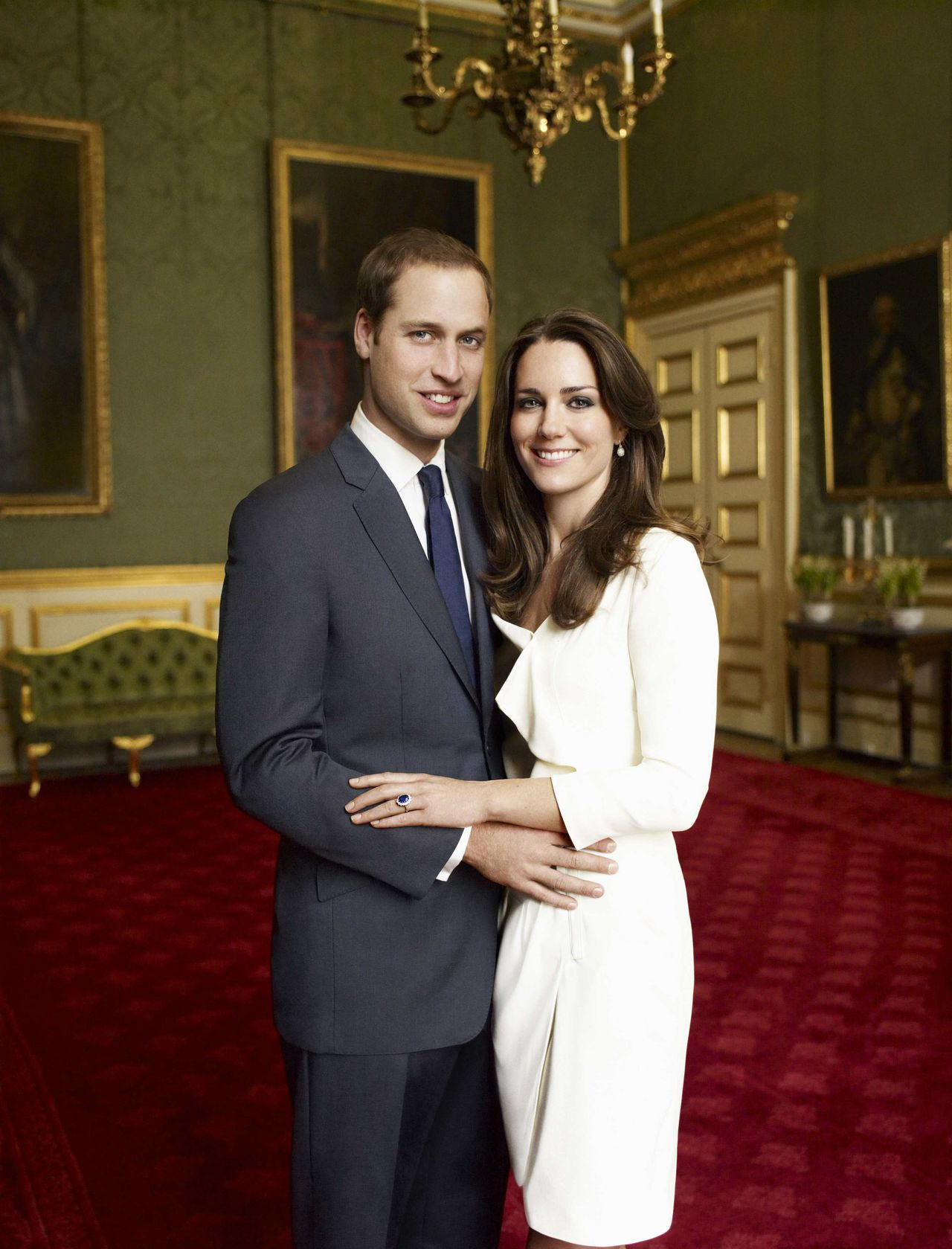 Britain's Prince William and Kate Middleton pose in one of two official engagement portraits, taken by photographer Mario Testino in the Council Chamber in the State Apartment at St James's Palace in London on November 25, 2010. The prince and his fiancee, Catherine Middleton, are to get married next year, the Buckingham Palace said last month. REUTERS/Copyright 2010 Mario Testino MANDATORY CREDIT (BRITAIN - Tags: ROYALS SOCIETY ENTERTAINMENT) NO COMMERCIAL OR BOOK SALES. NO SALES. NO ARCHIVES. FOR EDITORIAL USE ONLY. NOT FOR SALE FOR MARKETING OR ADVERTISING CAMPAIGNS. THIS IMAGE HAS BEEN SUPPLIED BY A THIRD PARTY. IT IS DISTRIBUTED, EXACTLY AS RECEIVED BY REUTERS, AS A SERVICE TO CLIENTS. NO THIRD PARTY SALES. NOT FOR USE BY REUTERS THIRD PARTY DISTRIBUTORS