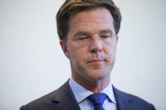 Premier Mark Rutte zaterdagmiddag tijdens de persconferentie in het Koetshuis van het Catshuis. Foto NRC / Pierre Crom