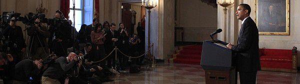 Obama tijdens zijn verklaring in reactie op het vertrek van Mubarak in het Witte Huis