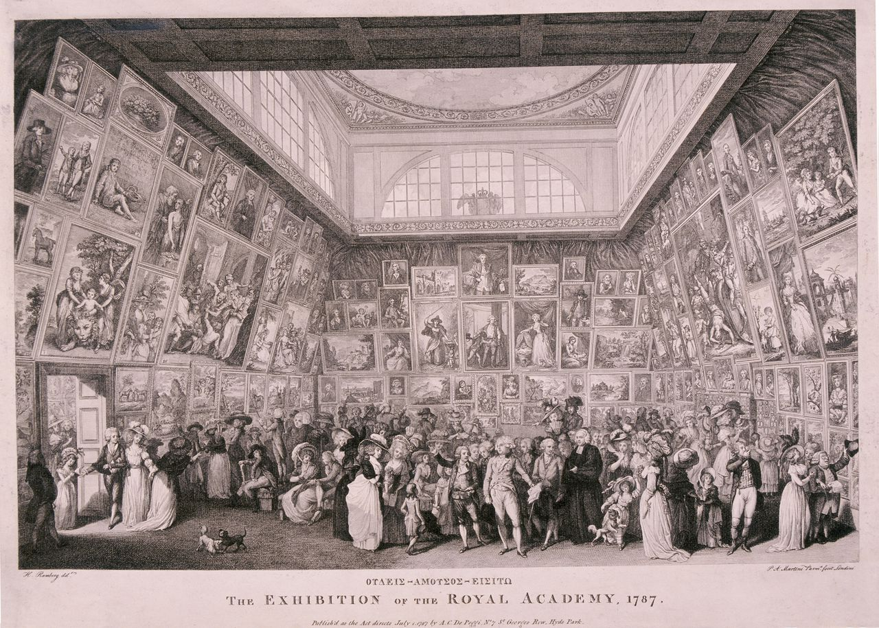 Interior view of Somerset House showing an exhibition of the Royal Academy of Arts in 1787, with paintings lining the walls from floor to ceiling and a large crowd of fashionably dressed figures viewing the works and conversing amongst themselves. Date: from 1787 to 1787 / etching / Creator: Pietro Antonio Martini cat_id: 9684 / InstRef: 29530 / InstRef2: ||rights=RM No third party sales.