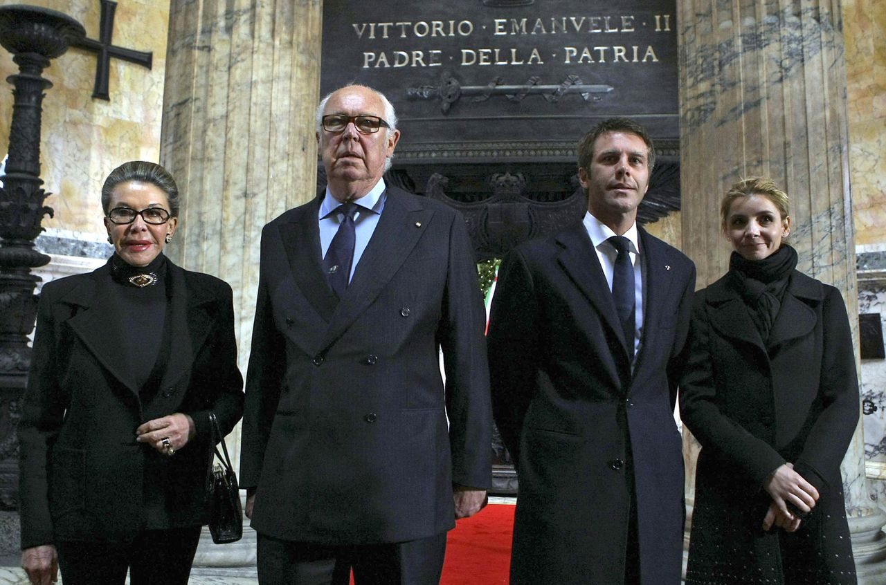 "Vittorio Emanuele, second from left, and Emanuele Filiberto, third from left, respectively son and grandson of Umberto II, the last reigning king of Italy, and their wives Marina Doria, left, and Clotilde Courau visit the tomb of Italy's first king, in Rome, Thursday, March 17, 2011. Italy marks its 150th birthday Thursday with pomp-filled ceremony and cultural events meant to highlight Italian unity and identity. Top leaders paid homage at the tomb of Italy's first king and will attend a performance of Verdi's ""Nabucco,"" which helped inspire the successful drive for unity in 1861. (AP Photo/Roberto Monaldo, Lapresse)"