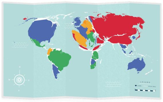 Op deze persoonlijke reiskaart van The Guardian zie je alle landen die je hebt bezocht.
