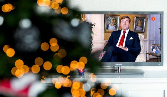 Koning Willem-Alexander tijdens zijn kersttoespraak op Eerste Kerstdag.