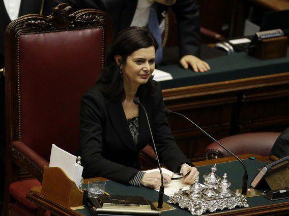 Laura Boldrini, nadat ze is gekozen tot voorzitter van de Italiaanse Kamer.