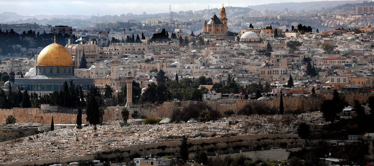 Overzicht over de Oude Stad in Jeruzalem.