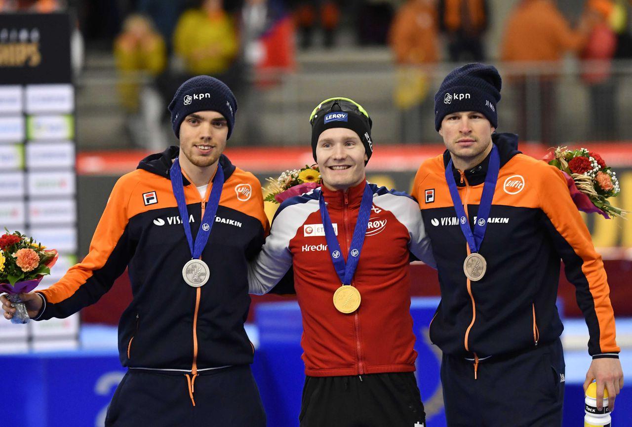 Van links naar rechts: Patrick Roest, Sverre Lund Pedersen en Sven Kramer.