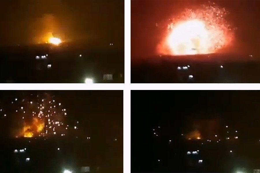 Stills van een video, vermoedelijk van de aanval op de Syrische wapenopslag