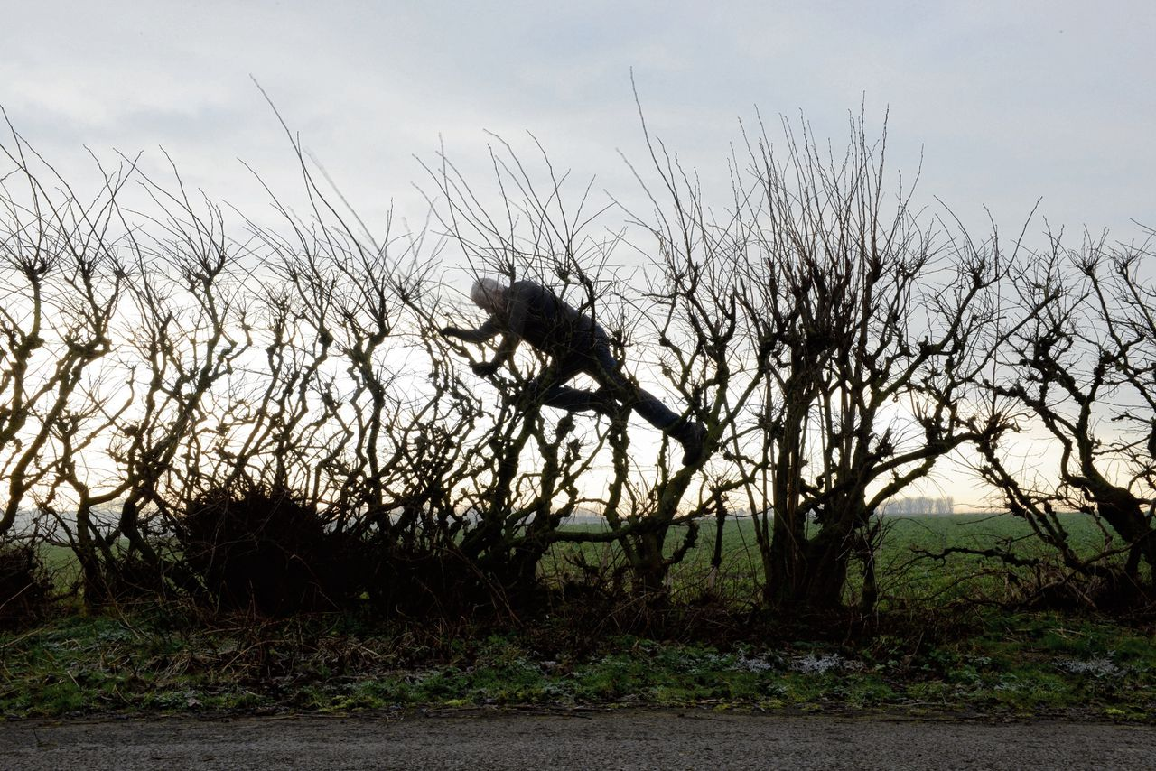 Andy Goldsworthy in de film 'Leaning into the Wind'.