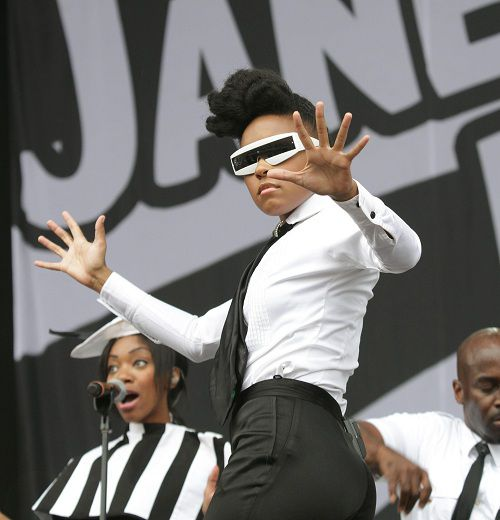 U.S. performer Janelle Monae, from Kansas City, U.S. performing on the Main Stage at the Wireless Festival in Hyde Park, central London, Saturday July 2, 2011. (AP Photo / Yui Mok, PA) UNITED KINGDOM OUT - NO SALES - NO ARCHIVES
